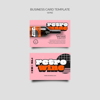 Retro style wine business card template