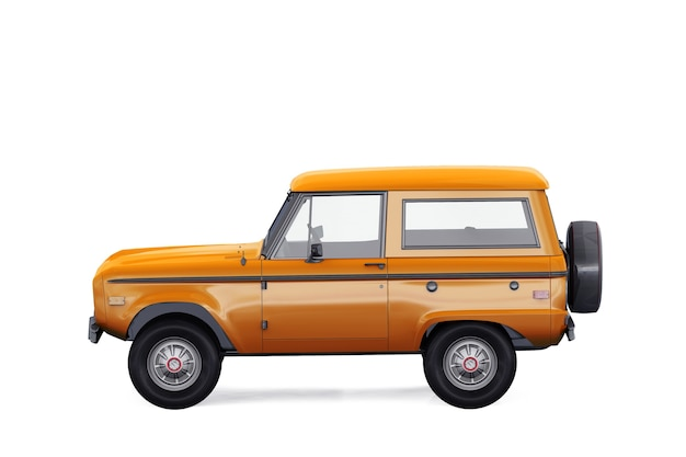 Retro suv 4x4 car 1975 mockup