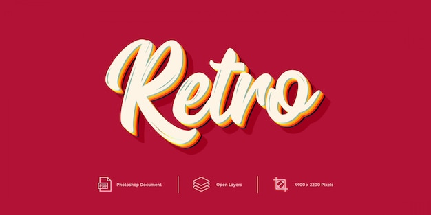 Retro text effect design  layer style