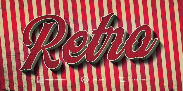 Retro text effect design template