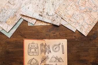 Retro travel concept mockup with diary
