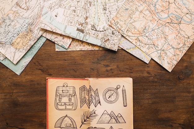 日記付きレトロ旅行コンセプトモックアップ