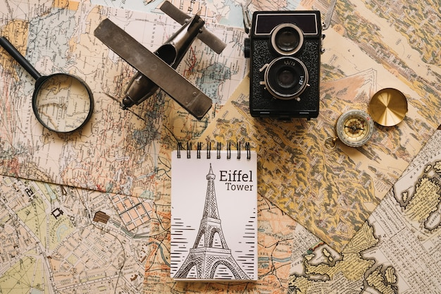 Retro travel concept mockup with notepad