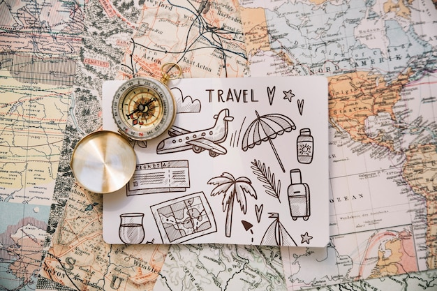 Retro travel concept mockup with paper