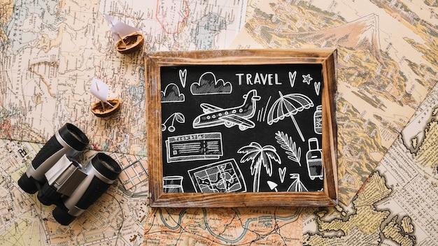 レトロ旅行コンセプトモックアップ、スレート