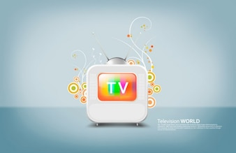 Retro TV icon with decorative shapes