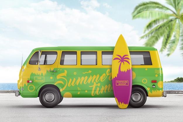 Retro van with surfboard branding mockup