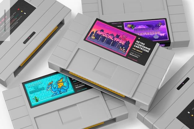 Ретро видеоигры картриджи макет, крупным планом