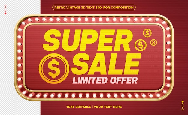 Retro vintage 3d light frame super sale limited offer