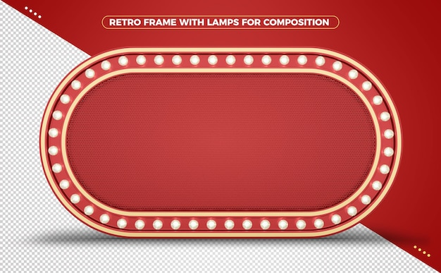 Retro vintage light frame with rounded edges