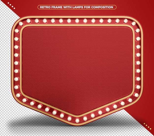 Retro vintage realistic red indicator light frame with realistic texture and gold edges