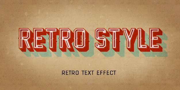 Retro vintage style effect with 3d shadow