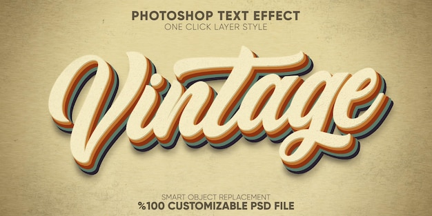 Retro, vintage text effect 70s and 80s text style template