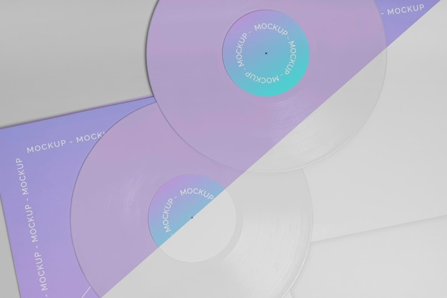 Retro vinyl disk with abstract packaging mock-up