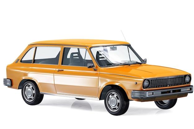 Retro wagon combi car 1975 mockup