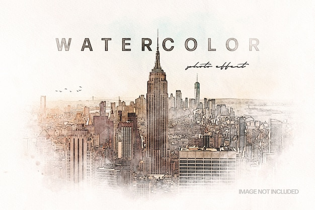 Retro watercolor art photo effect template