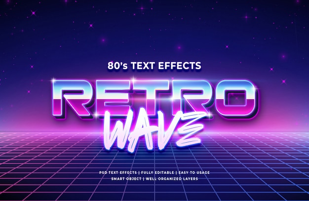 Retro wave 3d text style effect