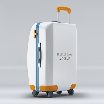 The reverse side universal wheel trolley case or luggage mockup isolated
