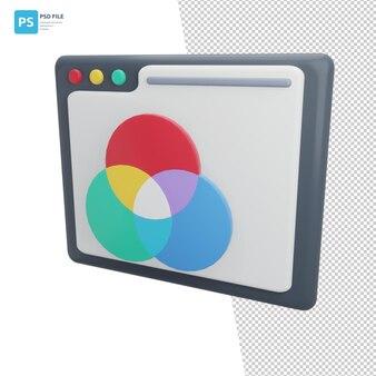 Rgb color in 3d illustration design assets