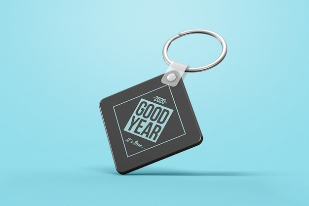 Rhombus plastic key chain with advertisement mockup