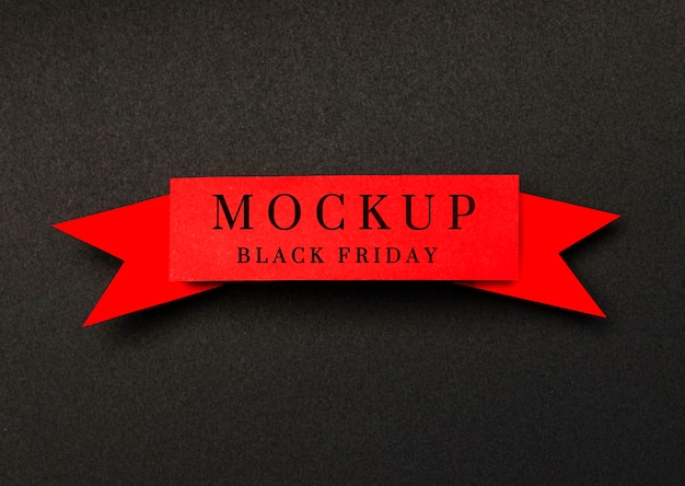 Ribbon on black background black friday sales mock-up