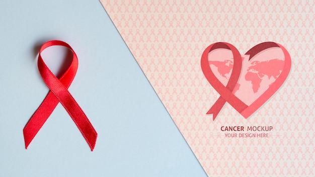 Ribbon and heart cancer awareness mock-up