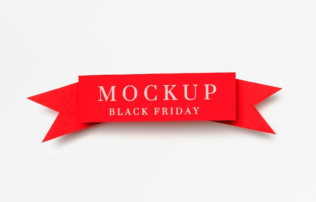Ribbon on white background black friday sales mock-up