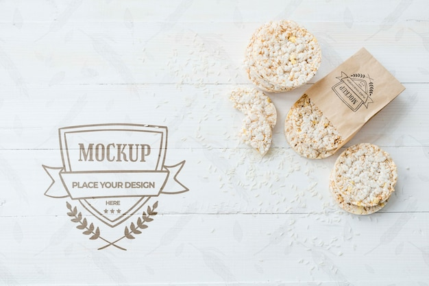 Rice cake arrangement with background mock-up