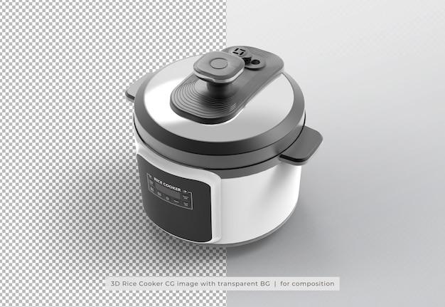 分離された3dレンダリングの炊飯器