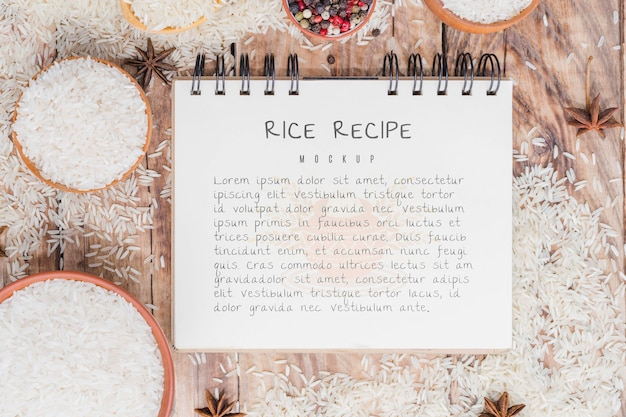 Rice recipe notepad mock-up