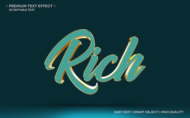 Rich 3d text style effect template