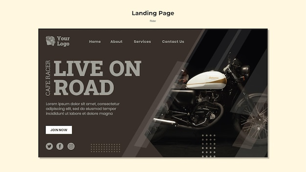 Rider concept landing page template