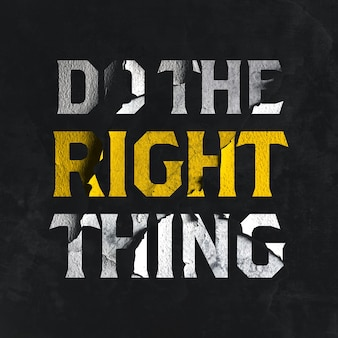 Do the right thing text effect template rendering