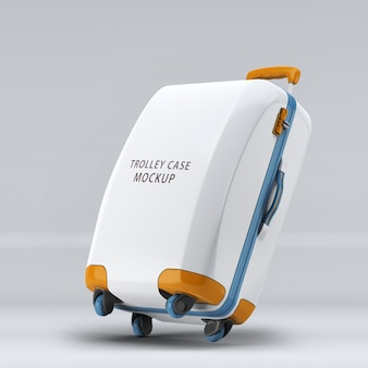 Rightward inclined universal wheel trolley case or luggage upright mockup isolated