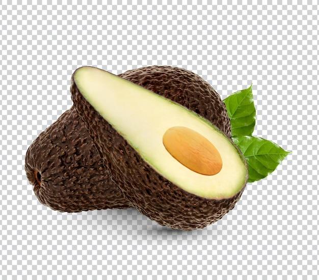 Спелый авокадо с изолированными листьями premium psd