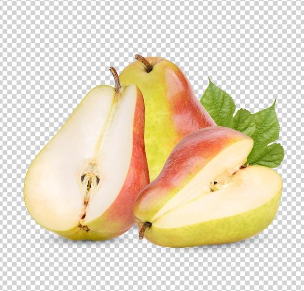 Спелые груши с листьями изолированы premium psd