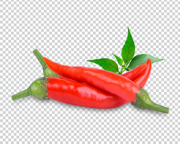 Ripe pepper with leaves isolated premium psd