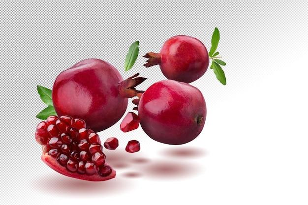 Ripe pomegranate fruit on alpha background.