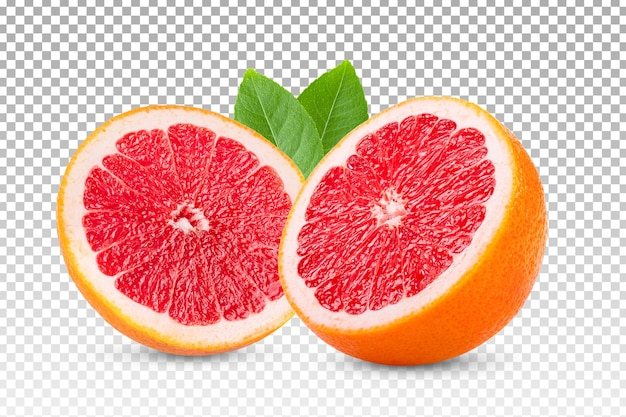 Ripe sliced grapefruit isolated