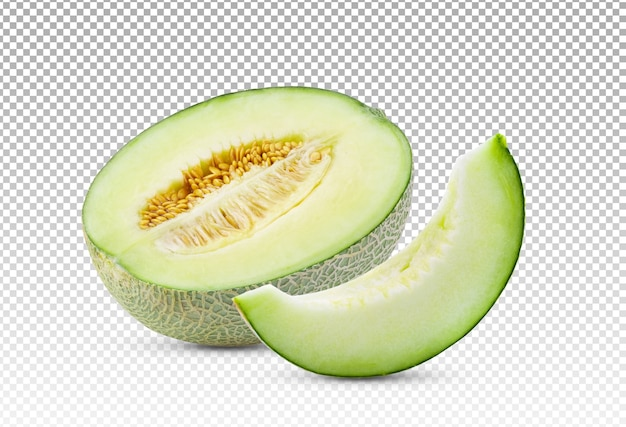 Ripe sliced melon isolated