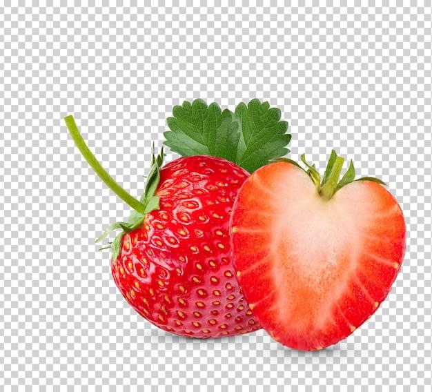잎이 고립 된 익은 딸기