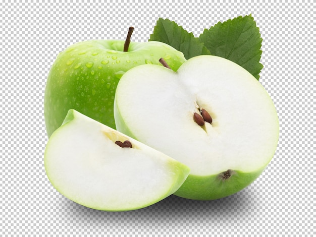 Спелое целое зеленое яблоко с половиной и листьев.