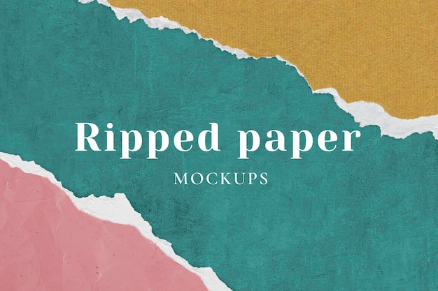 Ripped paper background mockup psd simple diy craft