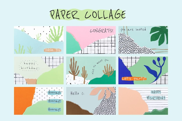 Ripped paper collage template psd set for blog banner