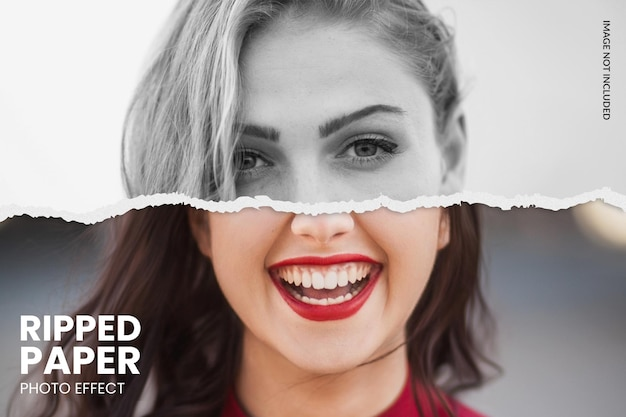 Ripped paper photo effect template