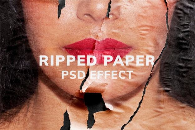 Ripped paper psd texture effect easy-to-use  remixed media