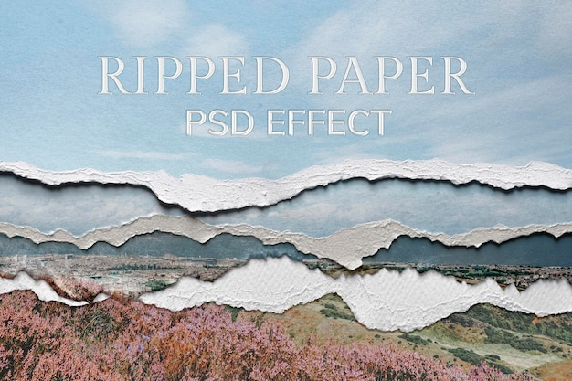 Ripped paper psd texture effect photoshop add-on remixed media
