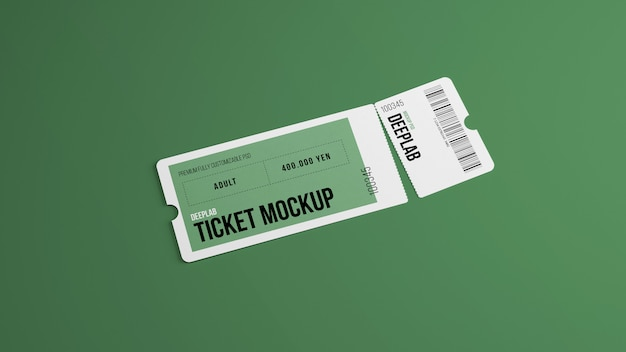 Ripped ticket with editable  color mockup
