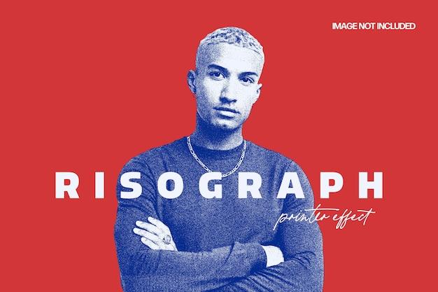 Risograph grain photo effect template