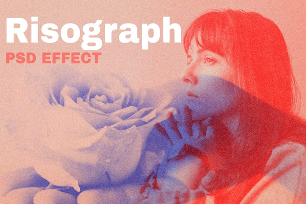 Risograph psd effetto photoshop add-on remix media